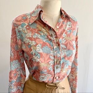 Vintage 70s pink floral fairy print button up top